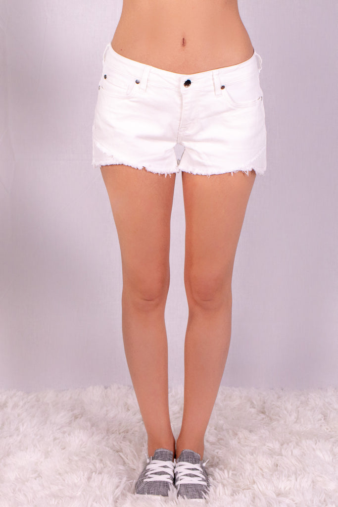 Frayed White Denim Shorts with Overlap Hem Front View