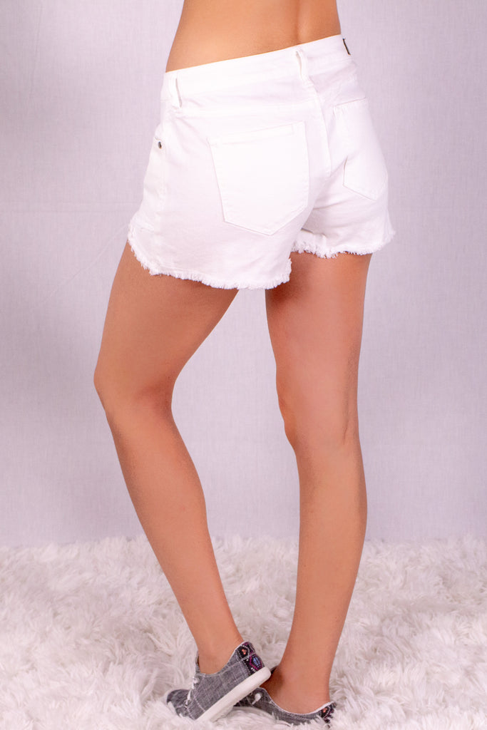 Frayed White Denim Shorts with Overlap Hem Back Left View