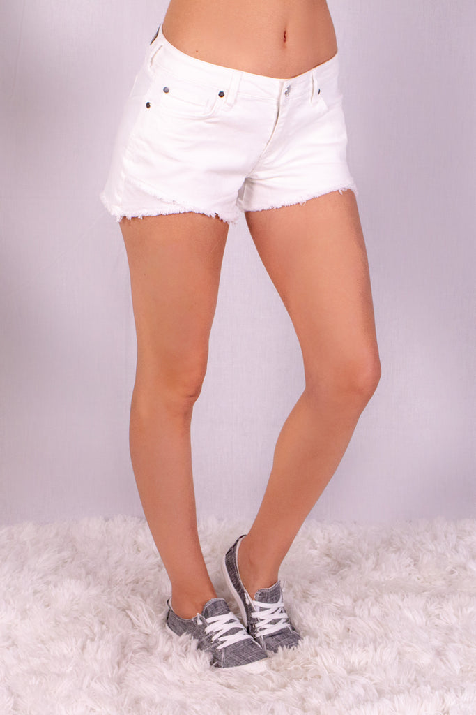 Frayed White Denim Shorts with Overlap Hem Front Right View
