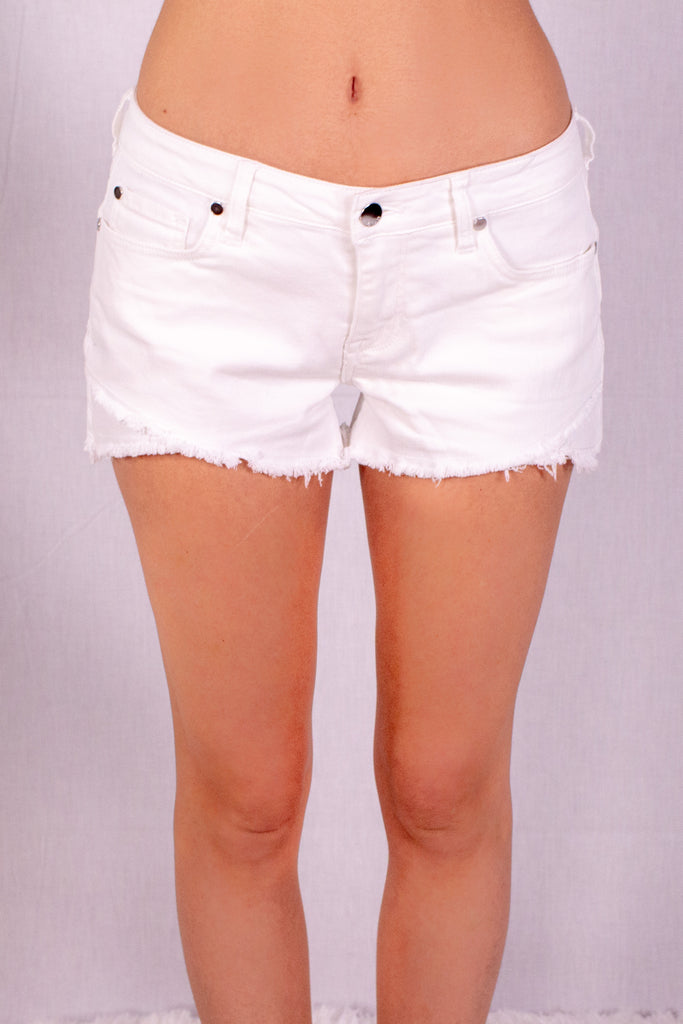 Frayed White Denim Shorts with Overlap Hem Front Close Up