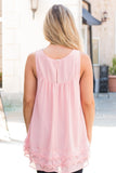 Pink Lace Swing Tank Back View Close Up