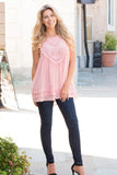 Pink Lace Swing Tank with Jeans Front View 1