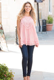Pink Lace Swing Tank with Jeans Front View 2