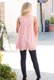 Pink Lace Swing Tank with Jeans Back View