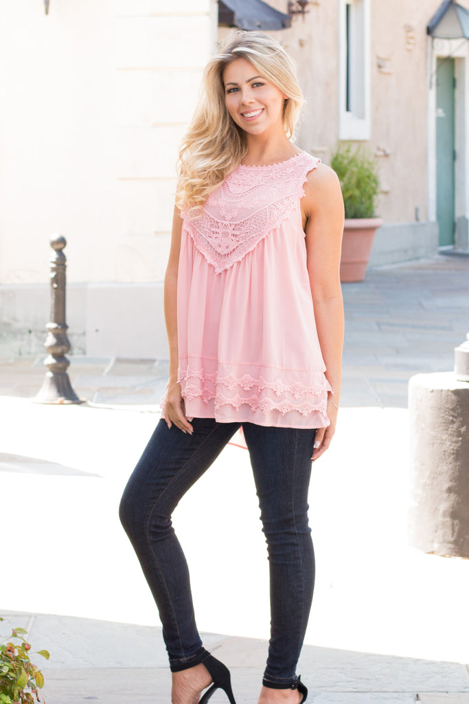 Pink Lace Swing Tank with Jeans Front View 3