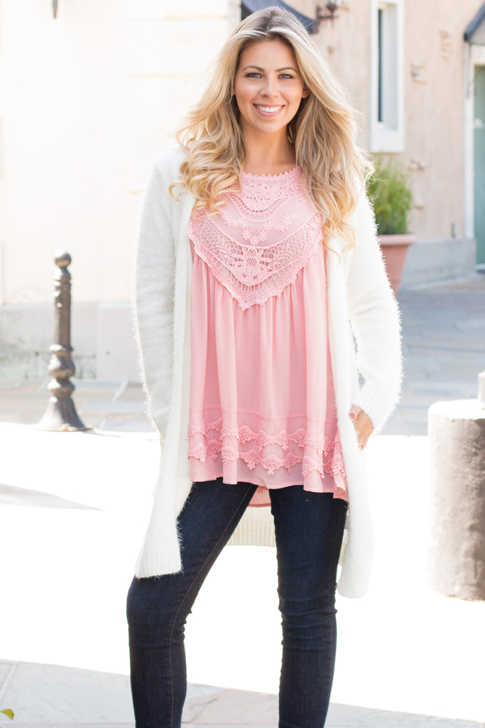 Pink Lace Swing Tank with Jeans and Fuzzy Cardigan Front View