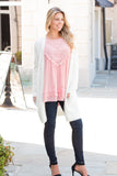 Pink Lace Swing Tank with Jeans and Fuzzy Cardigan Front View 2