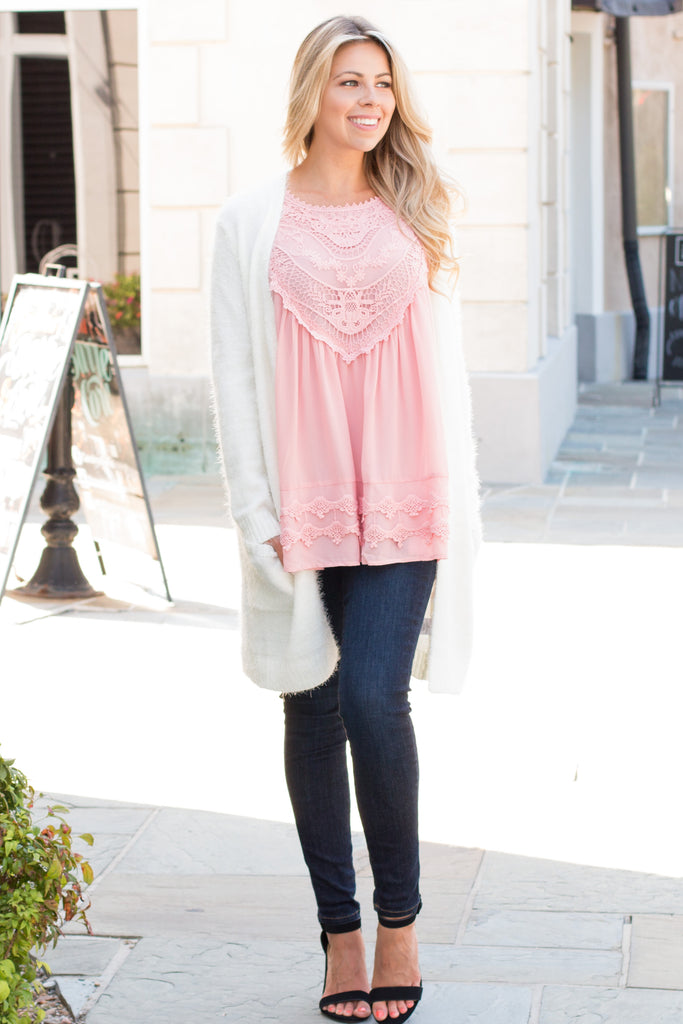 Pink Lace Swing Tank with Jeans and Fuzzy Cardigan Front View 3