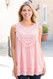 Pink Lace Swing Tank Front View Close Up 2