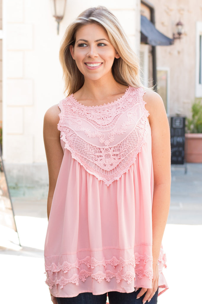 Pink Lace Swing Tank Front Close Up