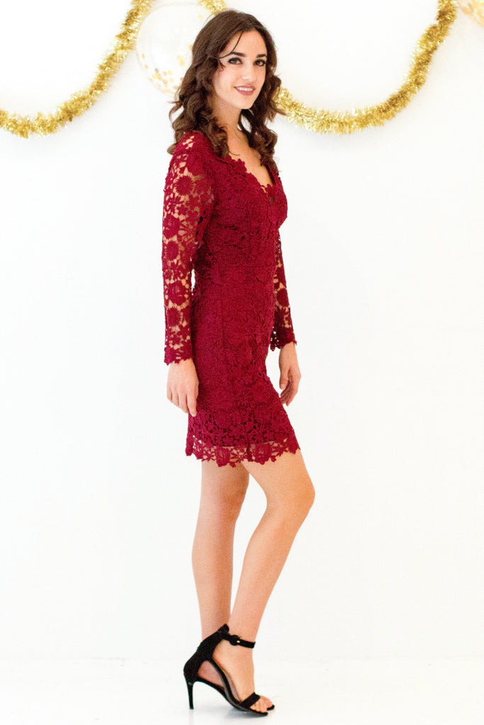 Holly Red Lace Bodycon Dress
