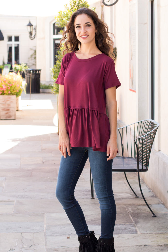 Entro Short Sleeve Peplum Top with Raw Edge Hem (Fullbody Front View)