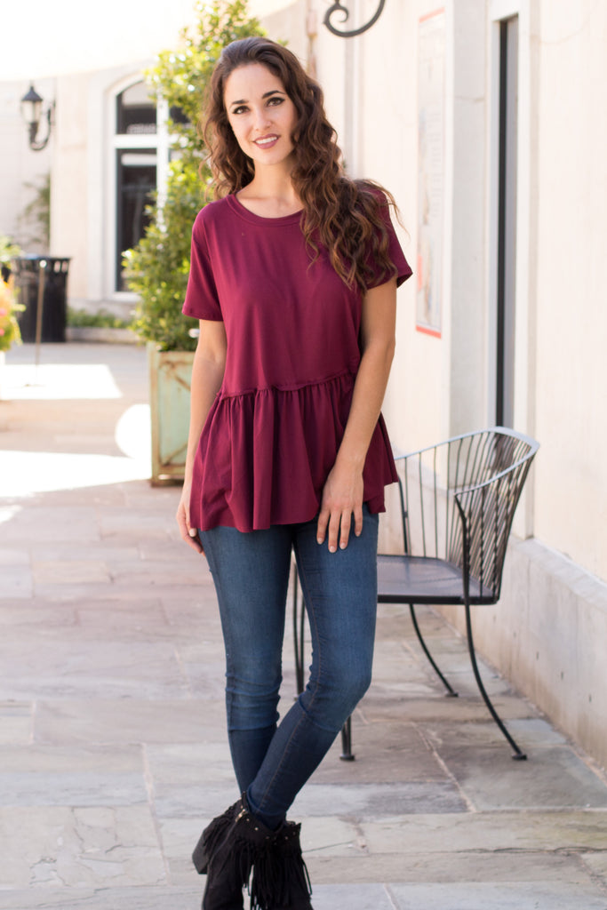 Entro Short Sleeve Peplum Top with Raw Edge Hem (Fullbody Front View 3)