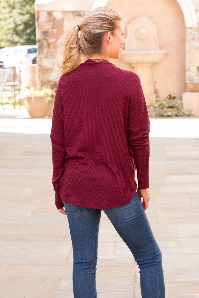 Slouchy Wine Button-Down Waffle Top with Tie Front Full Body Back View