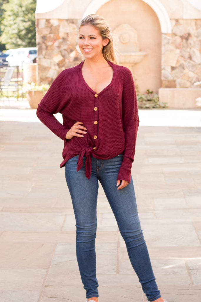 Slouchy Wine Button-Down Waffle Top with Tie Front Full Body Front View 1