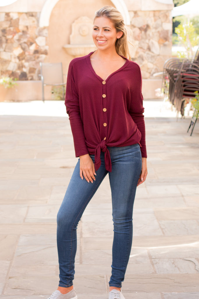 Slouchy Wine Button-Down Waffle Top with Tie Front Full Body 2