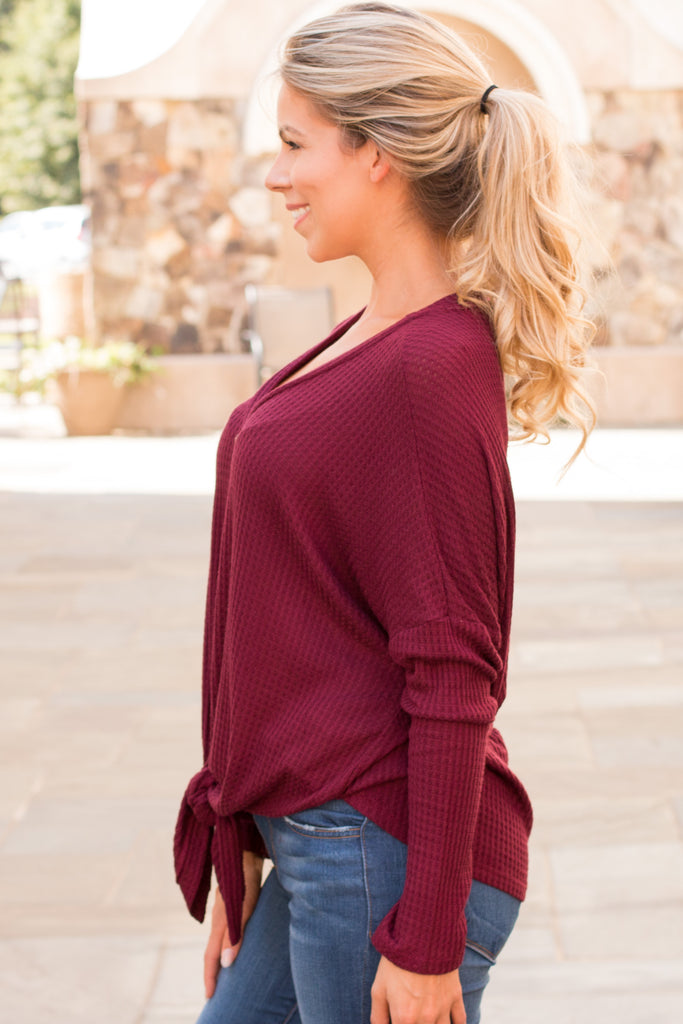 Slouchy Wine Button-Down Waffle Top with Tie Front Side Close Up
