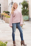 Sweet and Chic Bell Sleeve Sweater - Pink