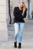 Favlux Black Knit V-Neck Sweater with Destroyed Hems Fullbody Front View Cute