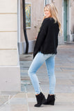 Favlux Black Knit V-Neck Sweater with Destroyed Hems Fullbody Left Side View