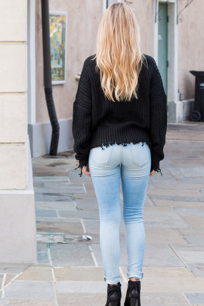 Favlux Black Knit V-Neck Sweater with Destroyed Hems Fullbody Back View