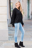Favlux Black Knit V-Neck Sweater with Destroyed Hems Fullbody Right Side View