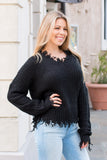Favlux Black Knit V-Neck Sweater with Destroyed Hems Front Closeup