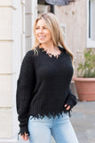 Favlux Black Knit V-Neck Sweater with Destroyed Hems