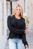 Favlux Black Knit V-Neck Sweater with Destroyed Hems Front Closeup Arm Grab