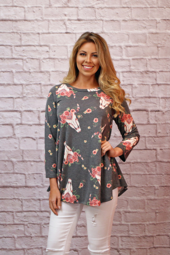 Fierce Floral Longhorn Top