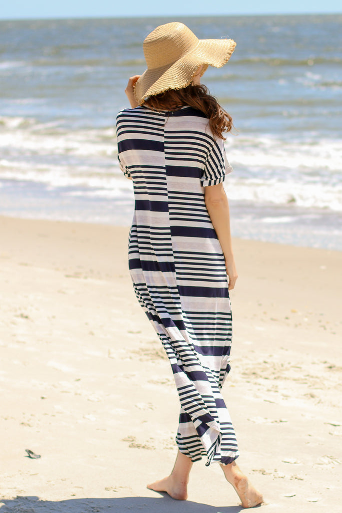Blue and White Striped T-Shirt Maxi with V-Neckline and Rounded Split Hem Back