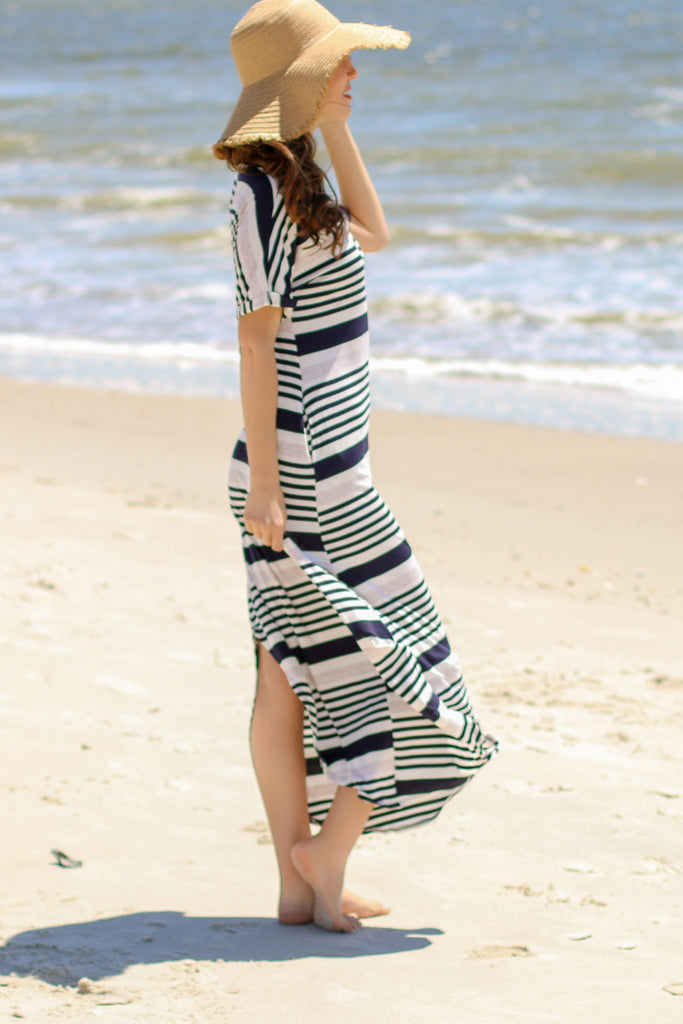 Blue and White Striped T-Shirt Maxi with V-Neckline and Rounded Split Hem Side