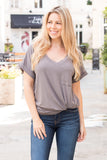 Flamingo V-Neck Basic Pocket Tee in Grey with Cuffed Sleeves
