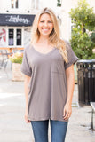 Flamingo V-Neck Basic Pocket Tee in Grey with Cuffed Sleeves (untied)