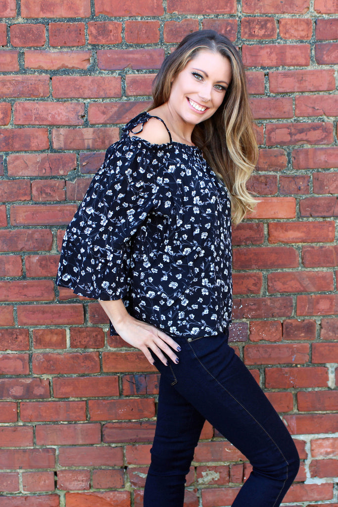 Free Falling Floral Off the Shoulder Blouse