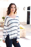 White and Gray/Pink Striped Slouchy Sweater with Slit Hem Right Side Close Up