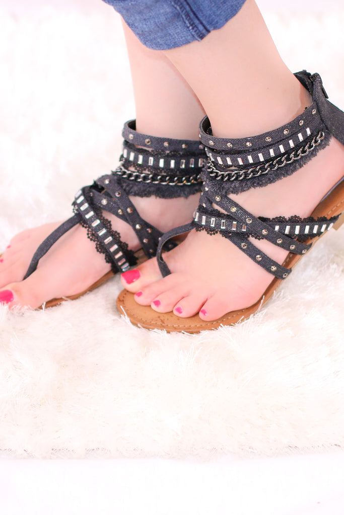 Black Strappy Gladiator Sandals with Lace, Rhinestone, and Chain Embellishments