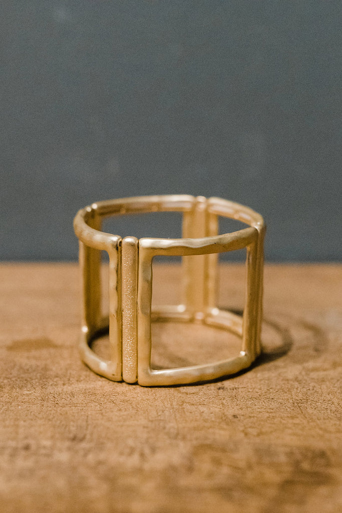 Oversized Square Link Stretch Cuff Bracelet Gold