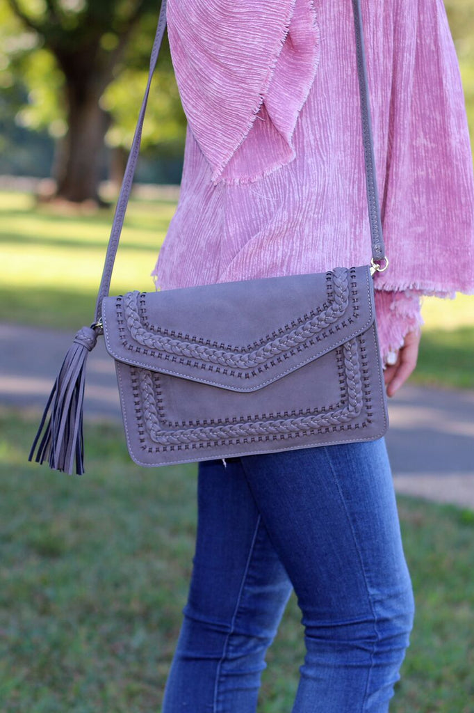 Woven Envelope Clutch/Purse-Grey