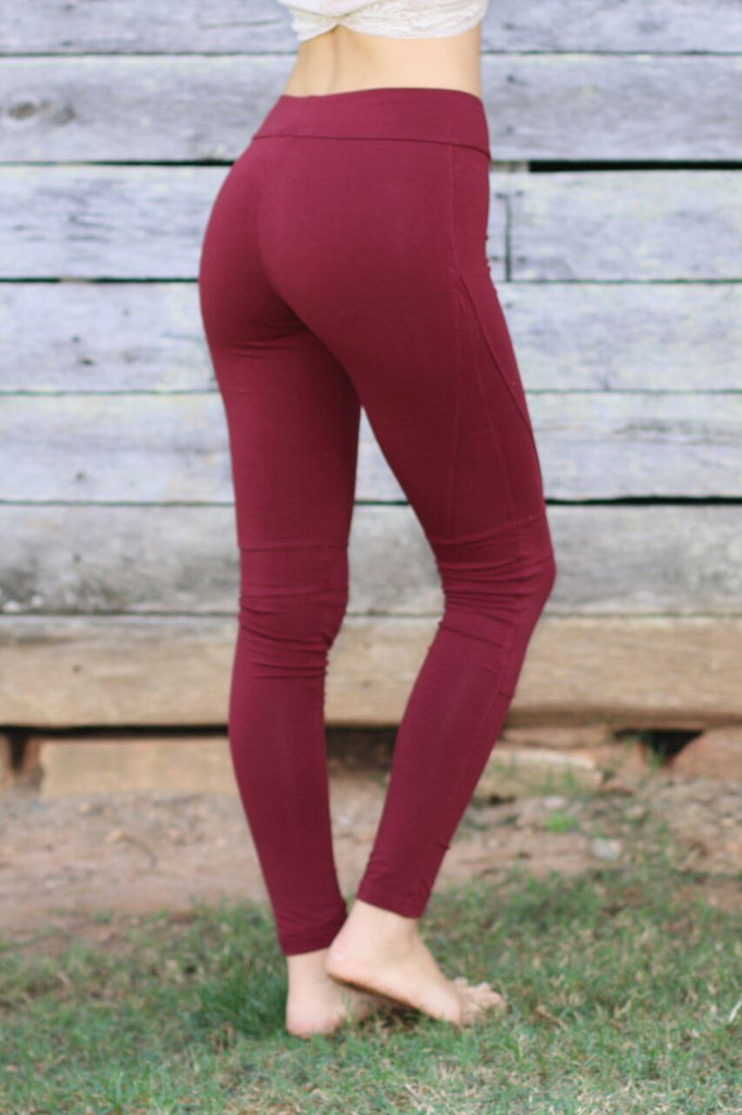 Solid Moto Leggings-Burgundy