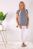 Gray Short Sleeve Lace Detail Top with White Skinny Jeans Front View