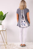 Gray Short Sleeve Lace Detail Top- Lace Up Floral Back Full Body View