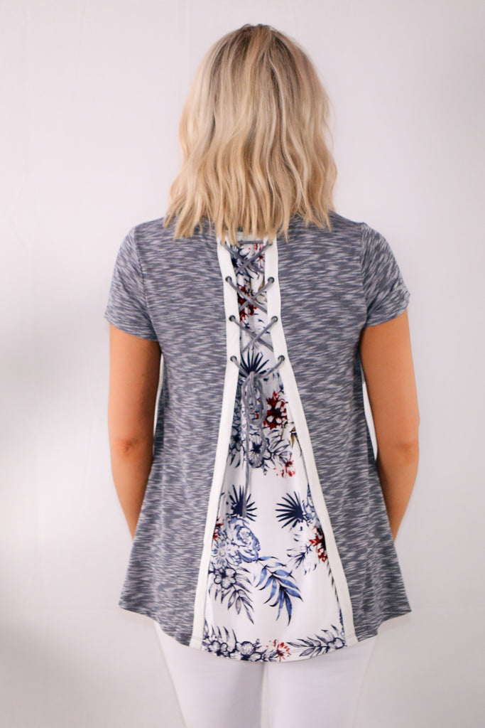 Gray Short Sleeve Lace Detail Top- Lace Up Floral Back Close Up