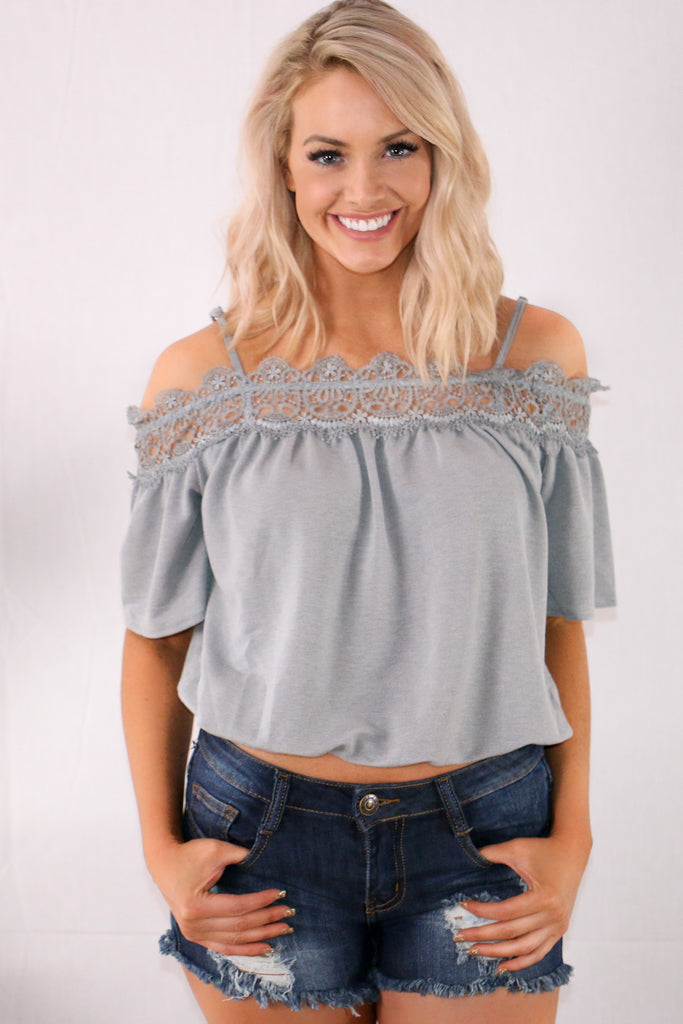 Only for You Off the Shoulder Top- Slate