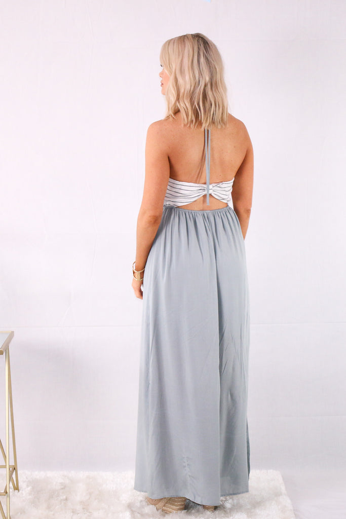 Better Than Ever Striped Halter Maxi Dress- Gray/White