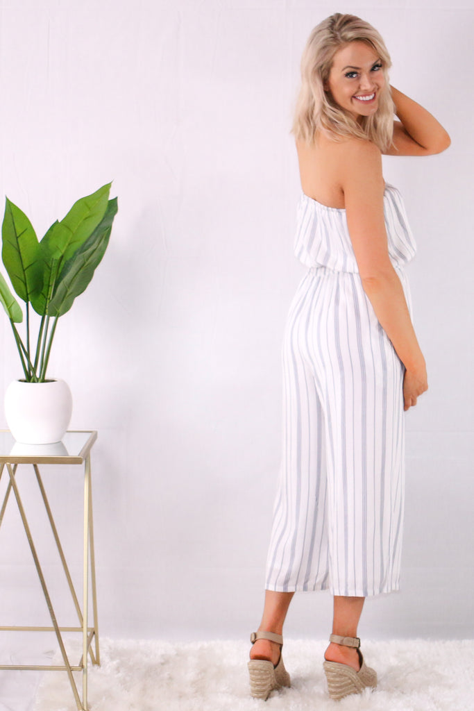 White/Blue Strapless Striped Romper with Wide Leg Side View