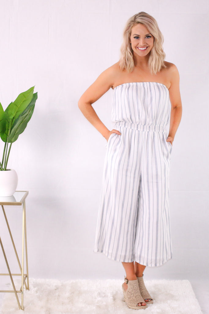 White/Blue Strapless Striped Romper with Wide Leg