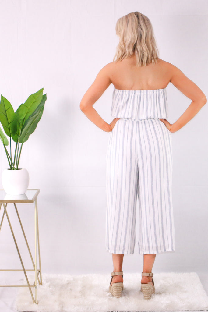 White/Blue Strapless Striped Romper with Wide Leg Back View