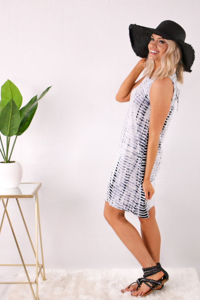 White with Gray Tie-Dye Stripes Swing Dress and Black Sunhat