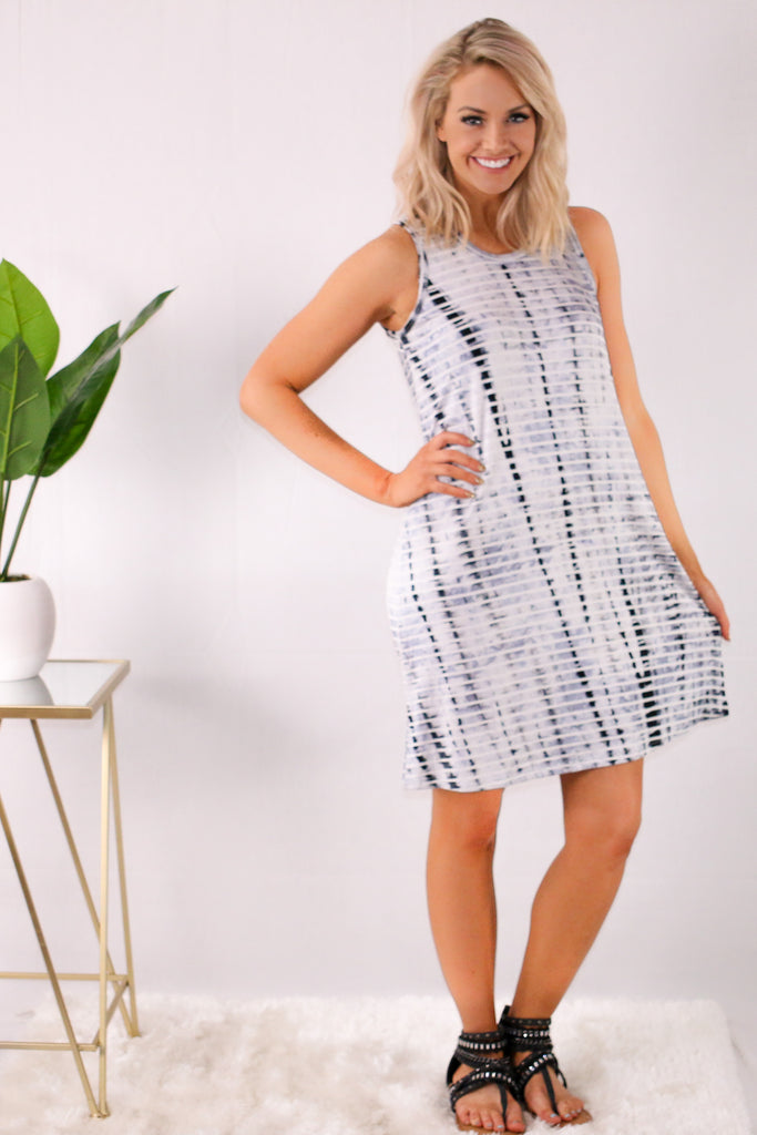 White with Gray Tie-Dye Stripes Swing Dress Front View